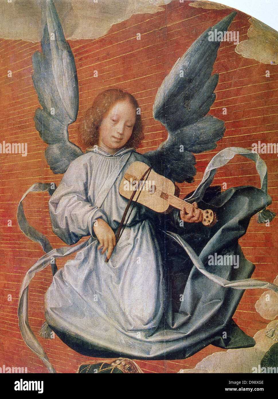 Angel playing a stringed instrument with a bow (viola da braccio?). 'The Virgin in Glory' (detail), 1524. - Stock Image