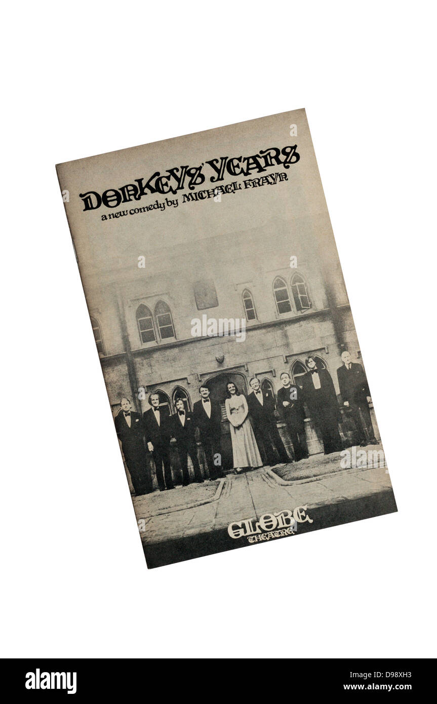 Programme for the 1976 production of Donkeys' Years at the Globe Theatre, with Peter Barkworth & Penelope - Stock Image
