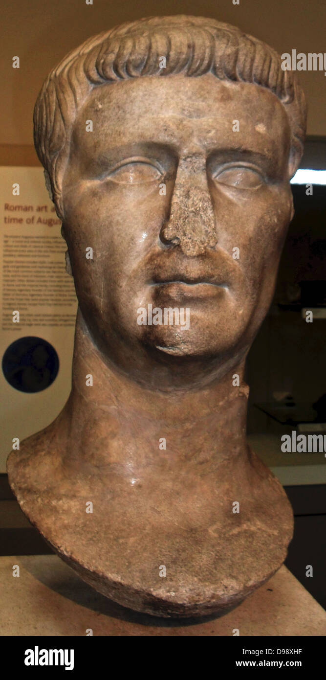 Marble head from a statue of the Roman emperor Claudius (AD 41-54), about AD 50.  From the sanctuary of Athena Polias - Stock Image