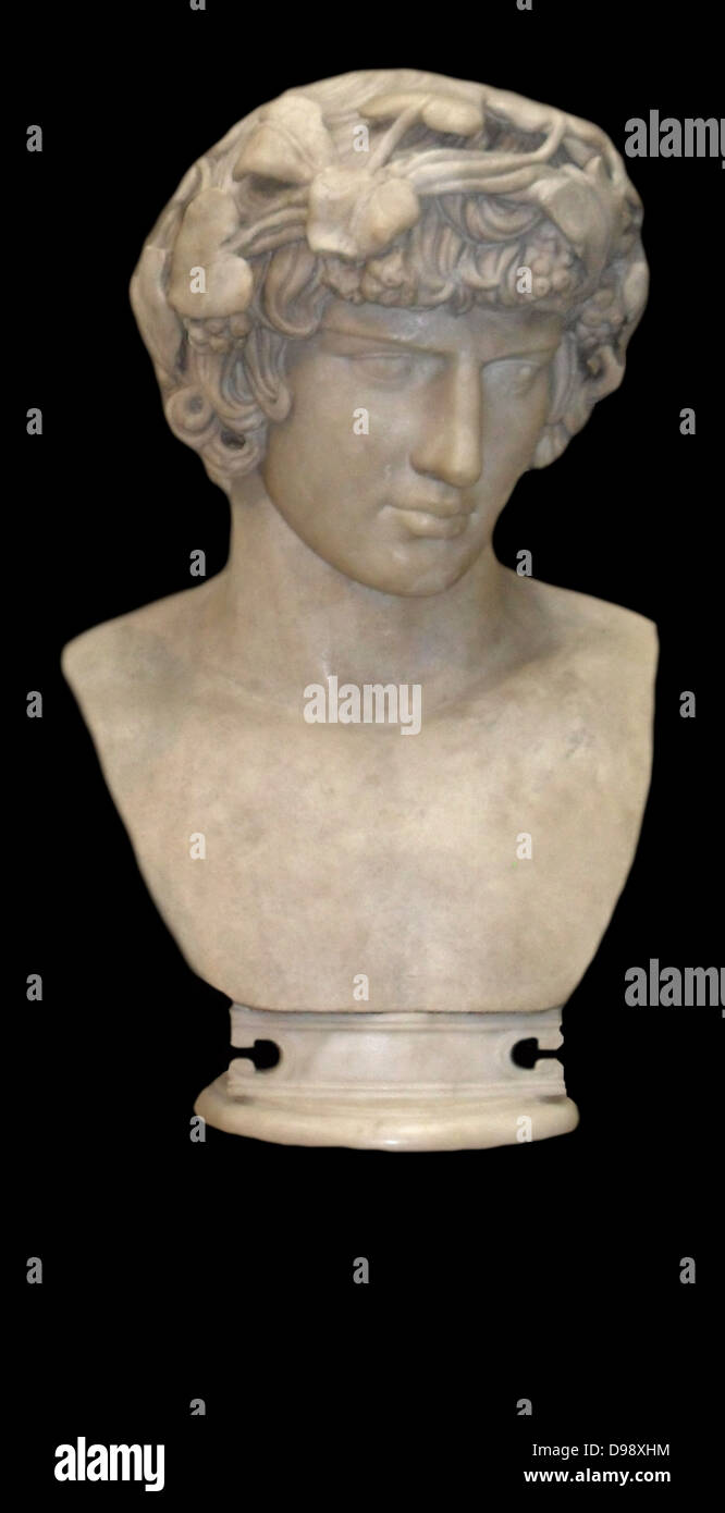 marble bust of Antinous the lover of Hadrian, Roman emperor. Circa 130-138 AD. - Stock Image