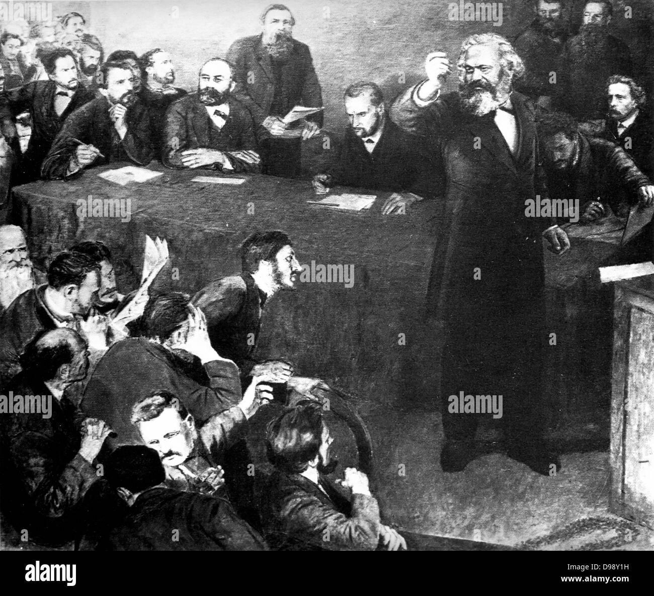 Karl Marx and Engels at the 1872 Hague Congress