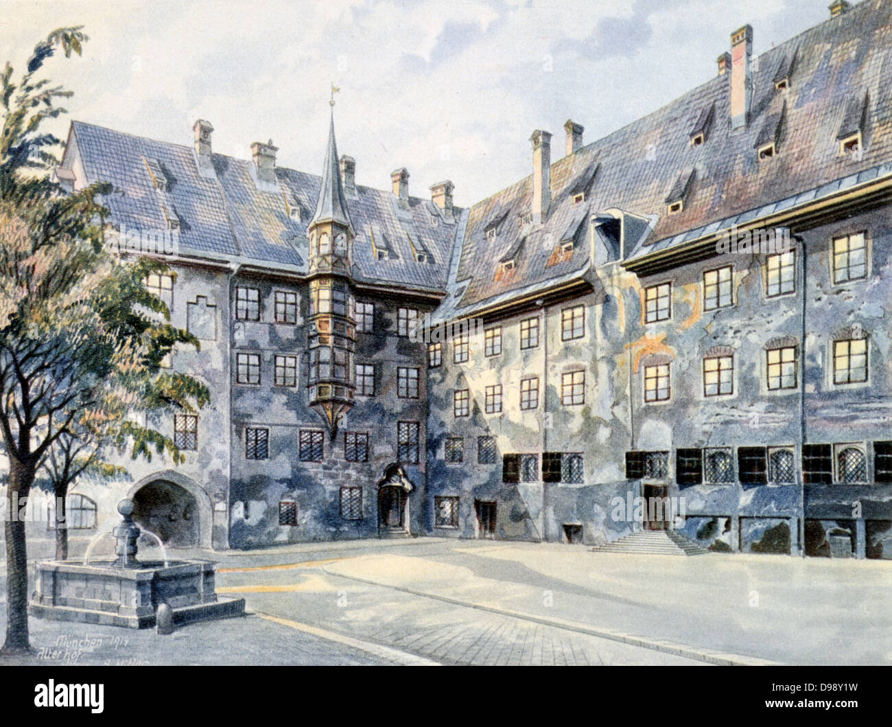 Courtyard in Munich. 1914. Watercolour by Adolf Hitler. Germany - Stock Image
