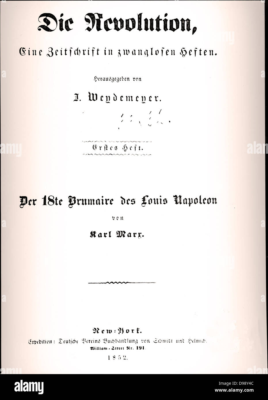 Title page from Karl Marx book 'Die revolution 1852 - Stock Image