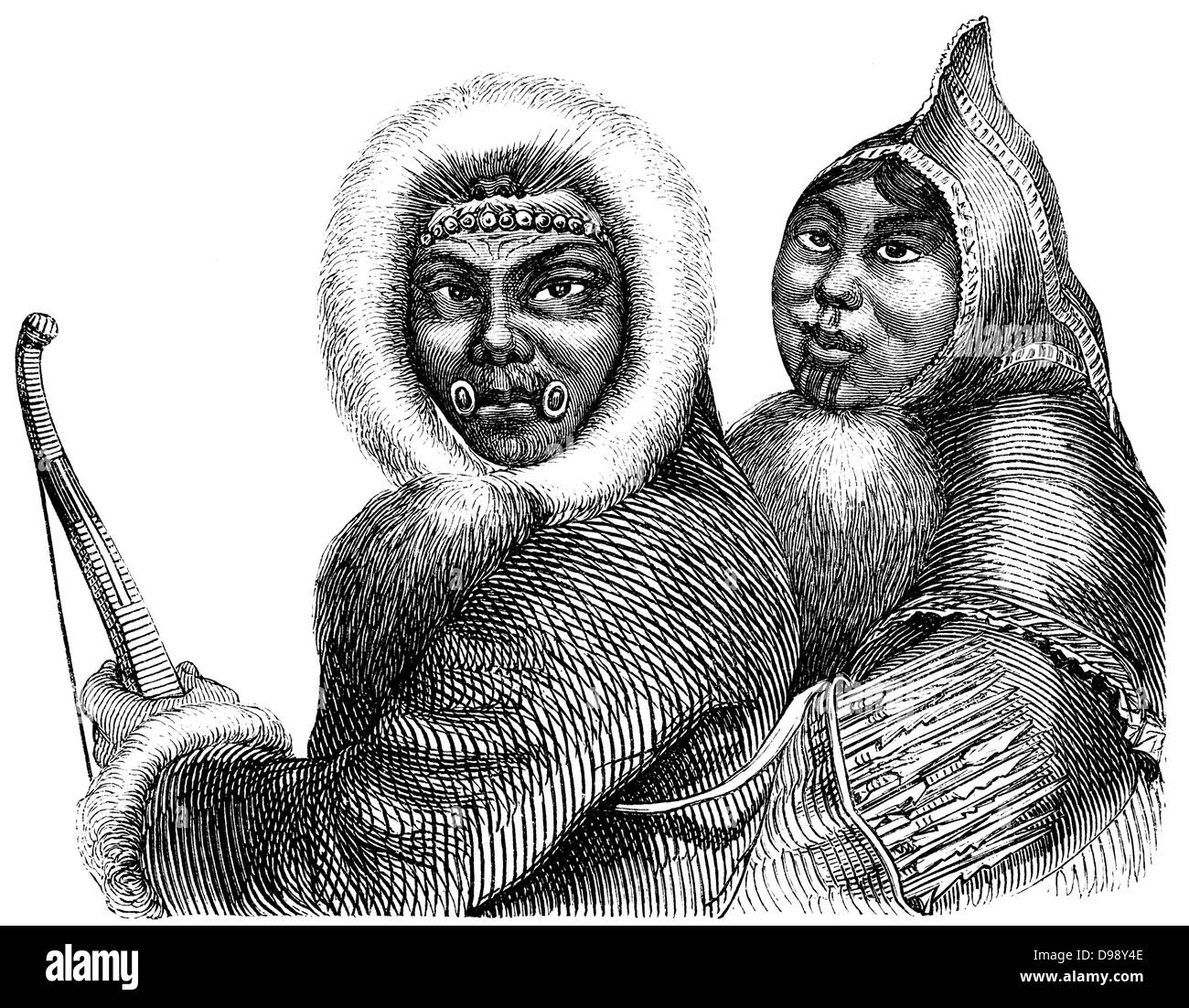 Inuit people, people picture from the 19th Century, 1864, Germany, Europe - Stock Image