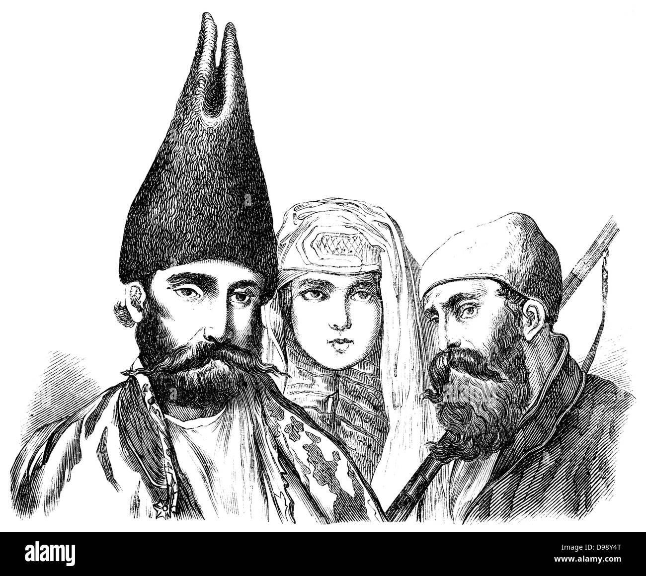 Persian people, people picture from the 19th Century, 1864, Germany, Europe - Stock Image