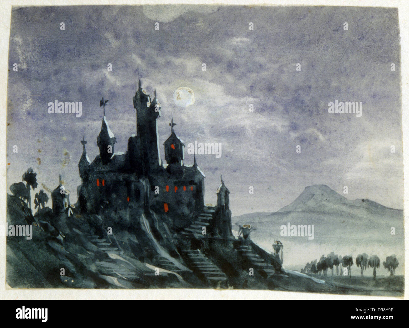 View of a Fantastic Chateau by Moonlight'. Watercolour and gouache. Aurore Amadine Lucie Dupin (1804-1876) French - Stock Image