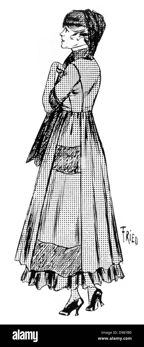Women's fashion. Dress and hat with veil considered suitable for mourning. From the French periodical 'Le - Stock Image