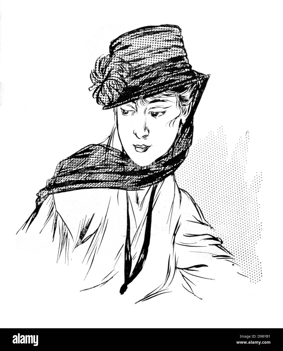 Women's fashion. Hat with veil considered suitable for mourning. From the French periodical 'Le Flambeau', - Stock Image