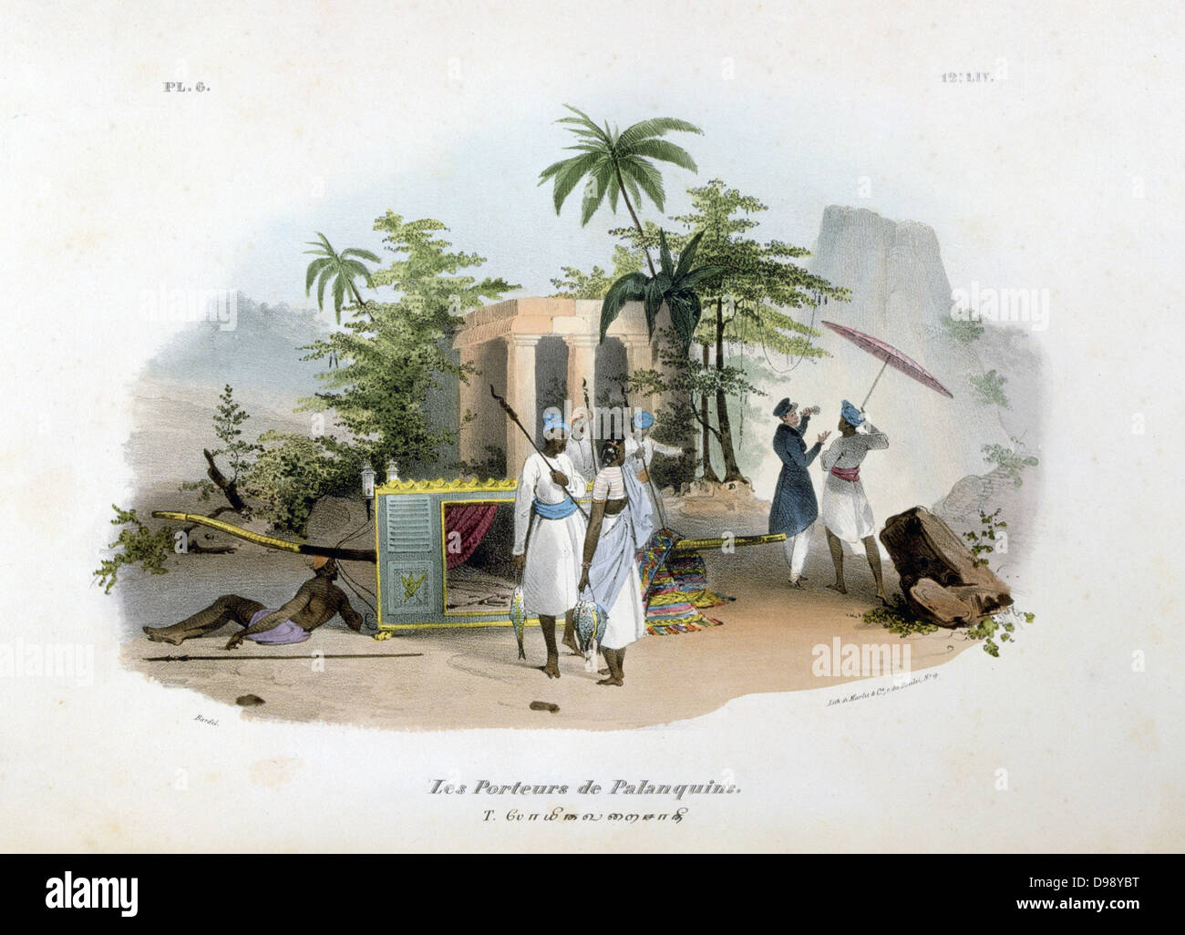 The Palanquin Porters. Hand-coloured lithograph from 'L'Inde francaise', Paris, 1828. Porters resting - Stock Image
