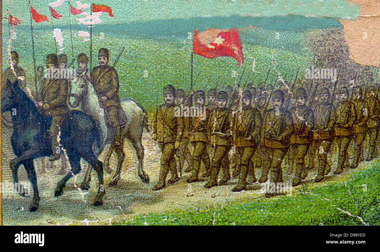 Turkish (ottoman) soldiers marching. Circa 1914 - Stock Image