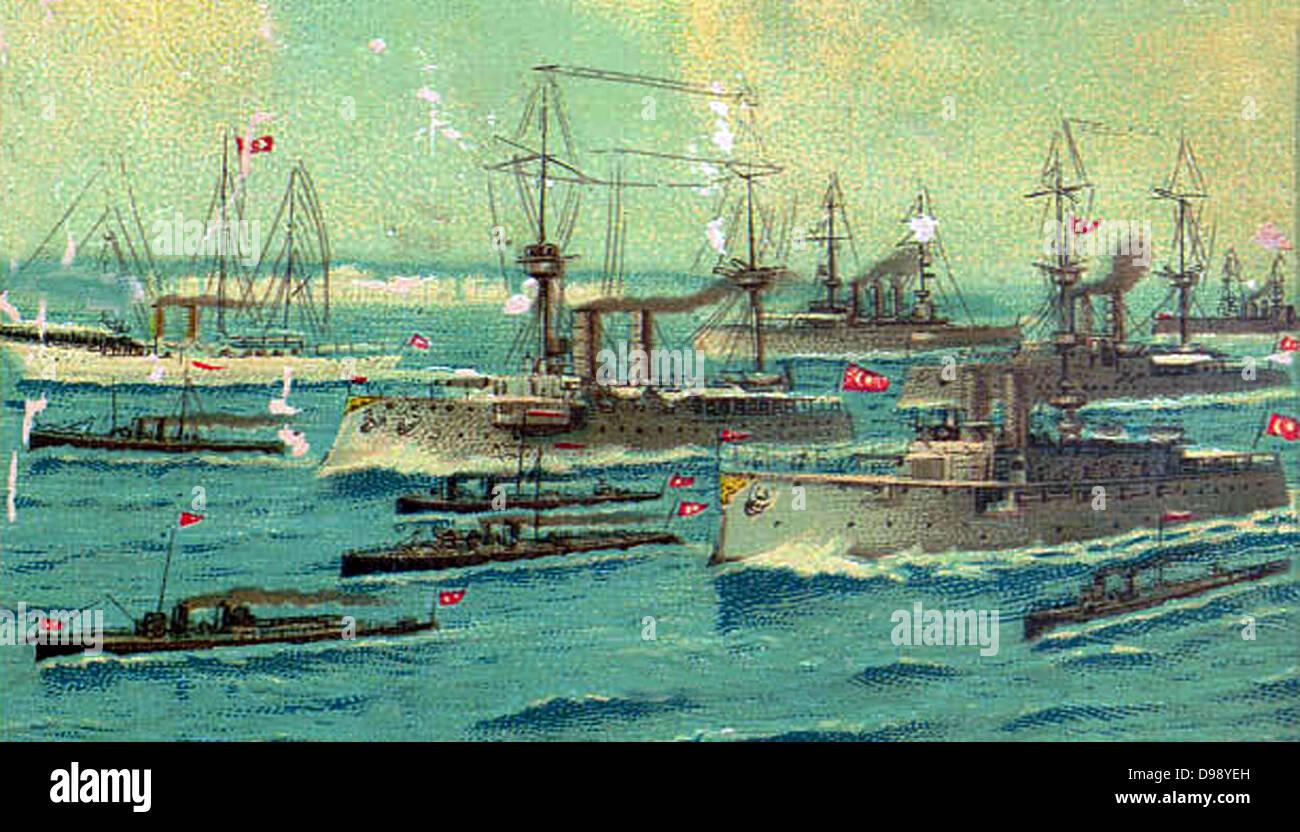 Turkish (ottoman) Navy in battle formation. Circa 1915 - Stock Image