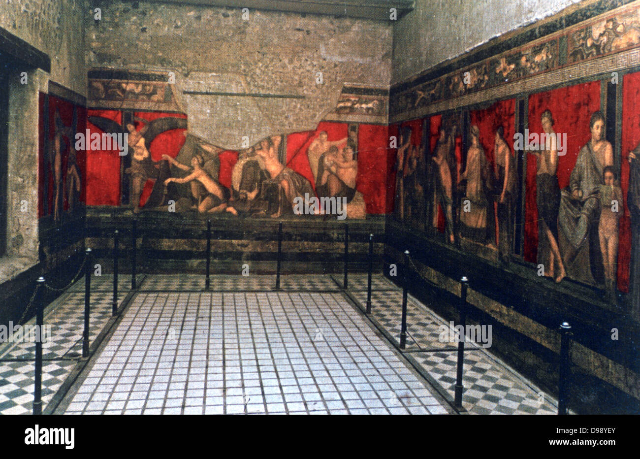 Ritual frescoes in the Initiation Chamber, Villa of the Mysteries, Pompei, Italy. Ancient Roman - Stock Image
