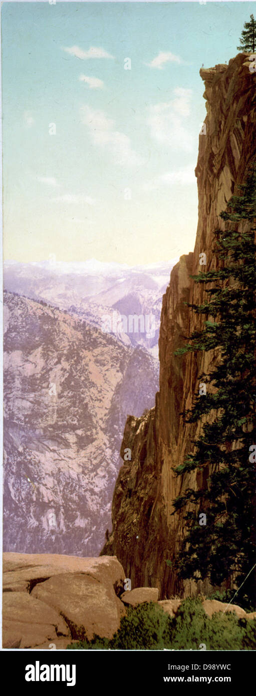 Glacier Point Yosemite Valley Photomechanical Print Photochrom Color C1899 By William Henry Jackson1843 1942