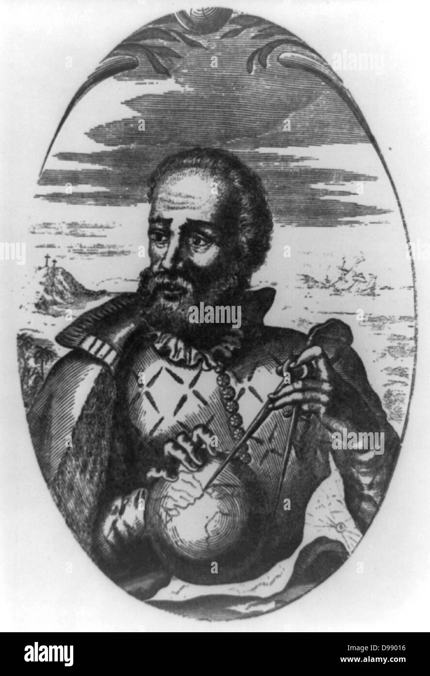 Fernando Magellan, half-length portrait, facing left; holding globe and compass - Stock Image