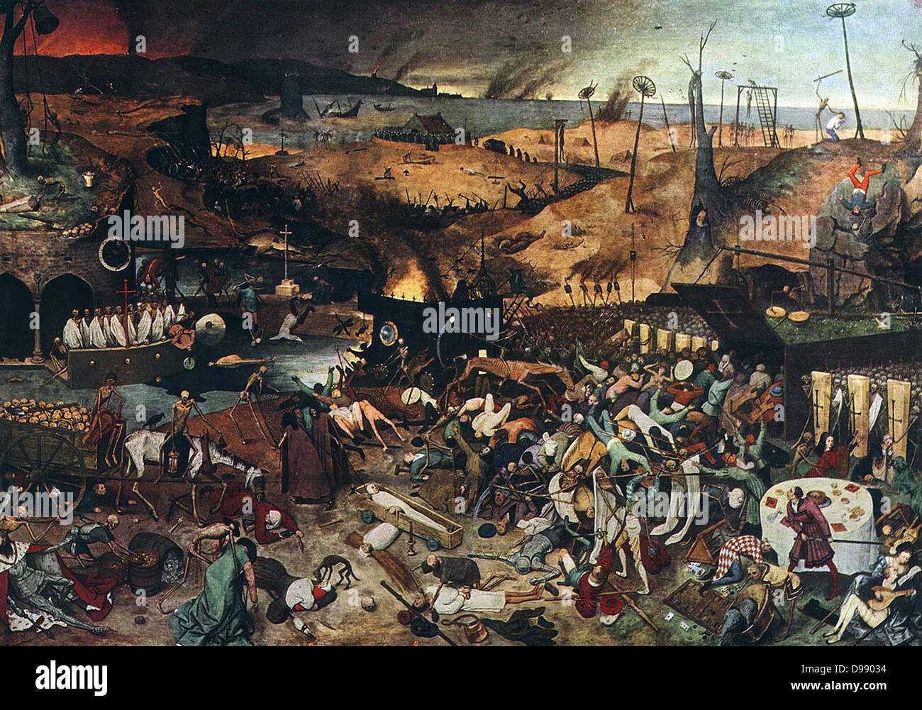 The Triumph of Death is an oil on panel, approximately 117 by 162 centimeters (46 x 63.8 in), painted c. 1562 by - Stock Image