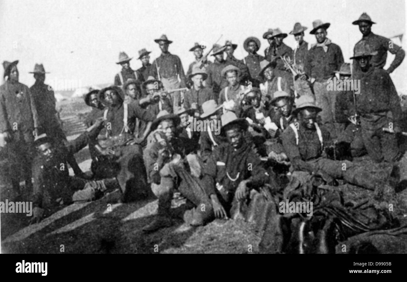 Segregated company of US Soldiers ( Buffalo Soldiers), Camp Wikoff, 1898 during the Spanish-American War National - Stock Image