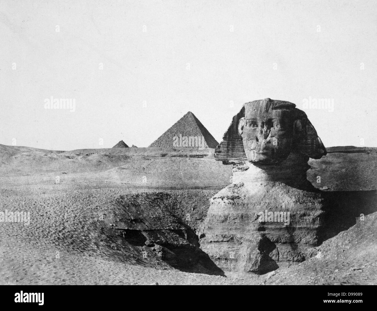The Spinx with Pyramids in the background, 1852. Giza, Egypt. Photograph by Maxime Du Camp (1822-1894) French photographer. - Stock Image