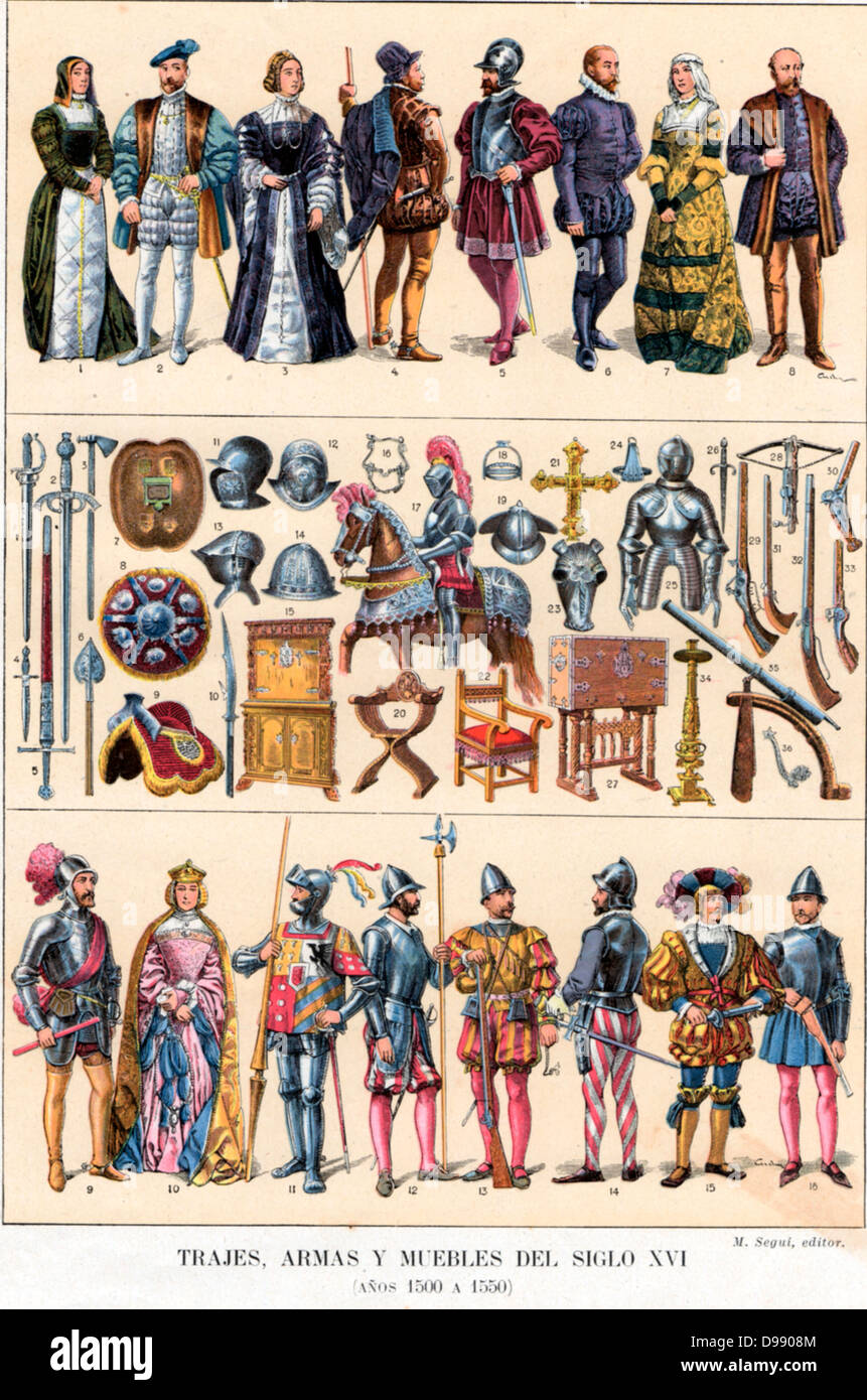 Court and military costumes plus items of weaponry, armour and furniture from 17th Century Spain - Stock Image