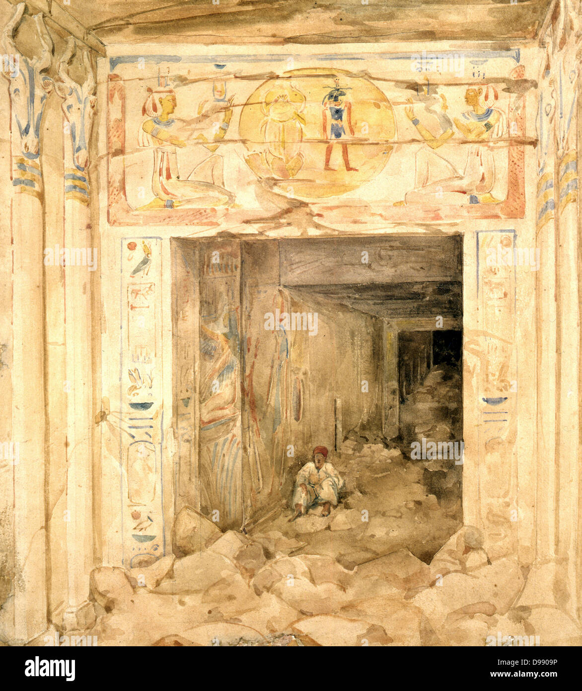 Ruined interior of the Temple at Esneh (Esne), Upper Egypt. Watercolour by Hector Horeau (1801-1872) French Architect. - Stock Image