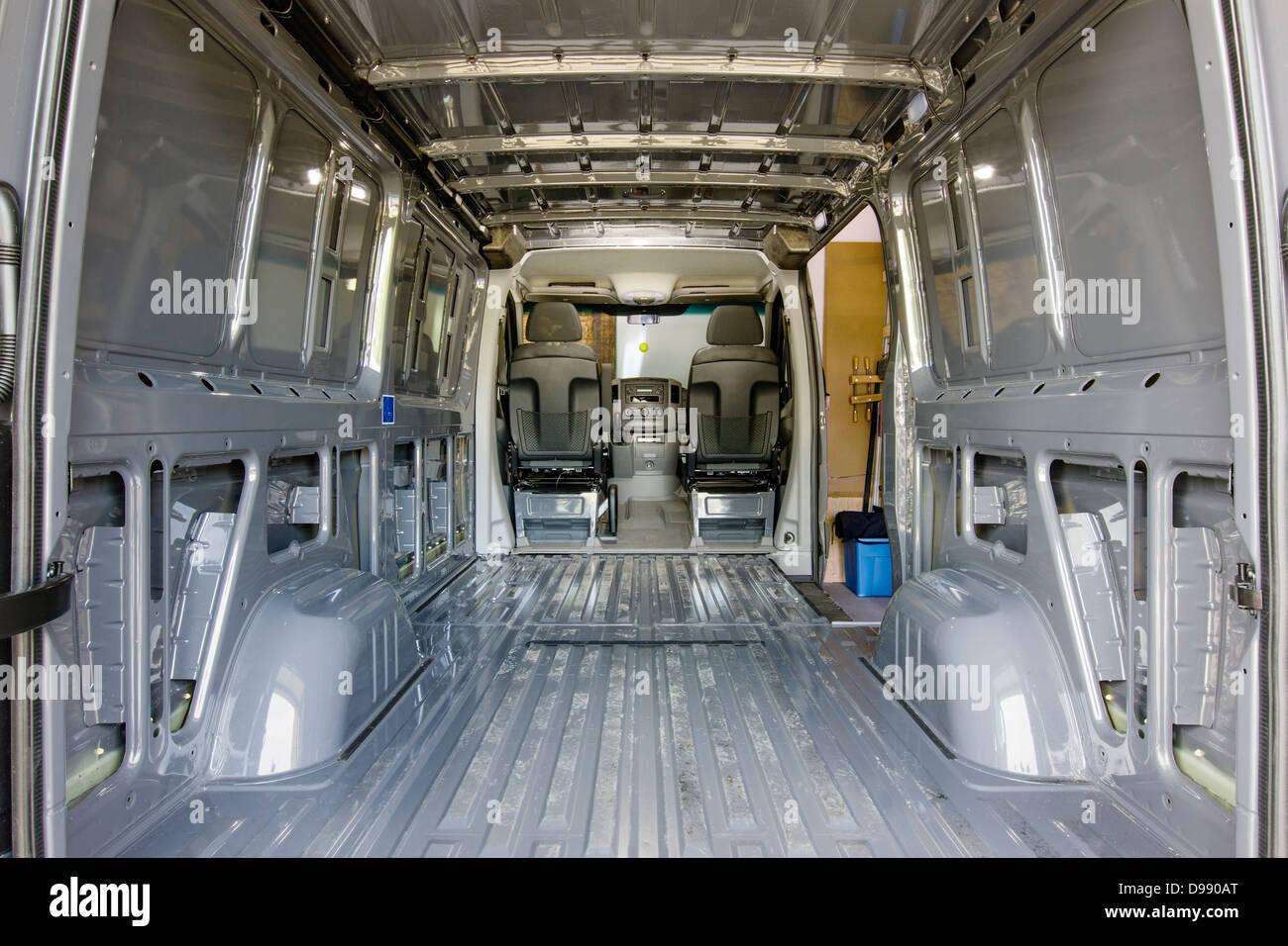 Interior View Of Mercedes Benz Sprinter Cargo Van 2500 Being Stock