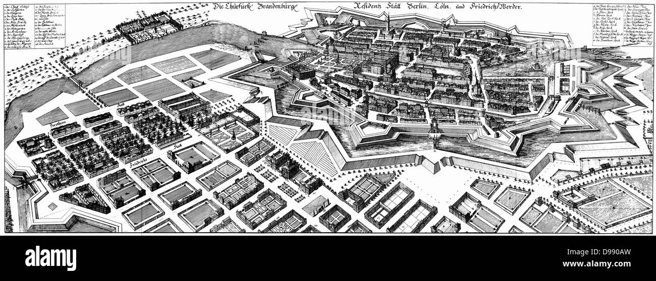 Map of Berlin in 1652, showing the fortress. Created by Matthäus Merian the elder (1593-1655) who was a German engraver Stock Photo