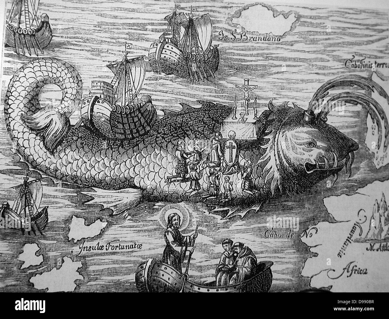 St Brendan and the whale from a 16th century engraving  Saint Brendan of Clonfert or Bréanainn of Clonfert - Stock Image