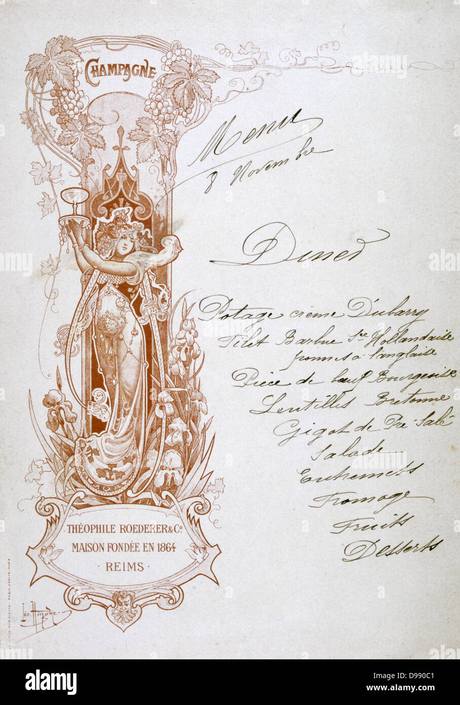 Dinner menu hand-written on a publicity card for Theophile Roederer & Co. Champagne, late 19th century. Food - Stock Image