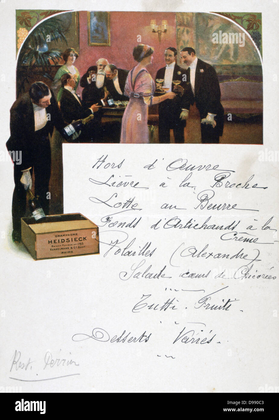 Restaurant menu hand-written on a publicity card for Heidsieck Champagne showing men and women enjoying a pre-dinner - Stock Image