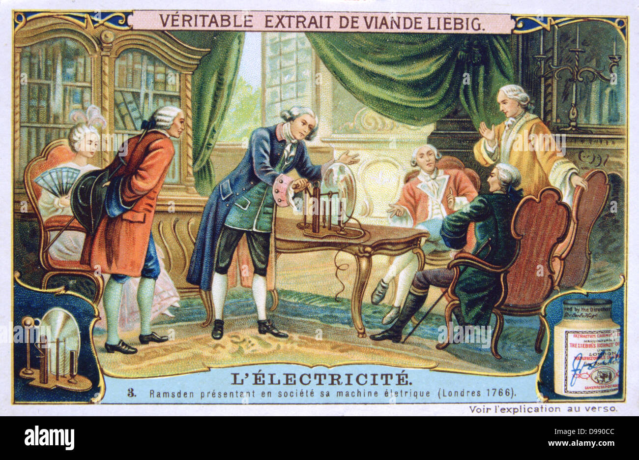 History of Electricity: Ramsden demonstrating his static electric machine in a fashionable household, 1766. Liebig Stock Photo