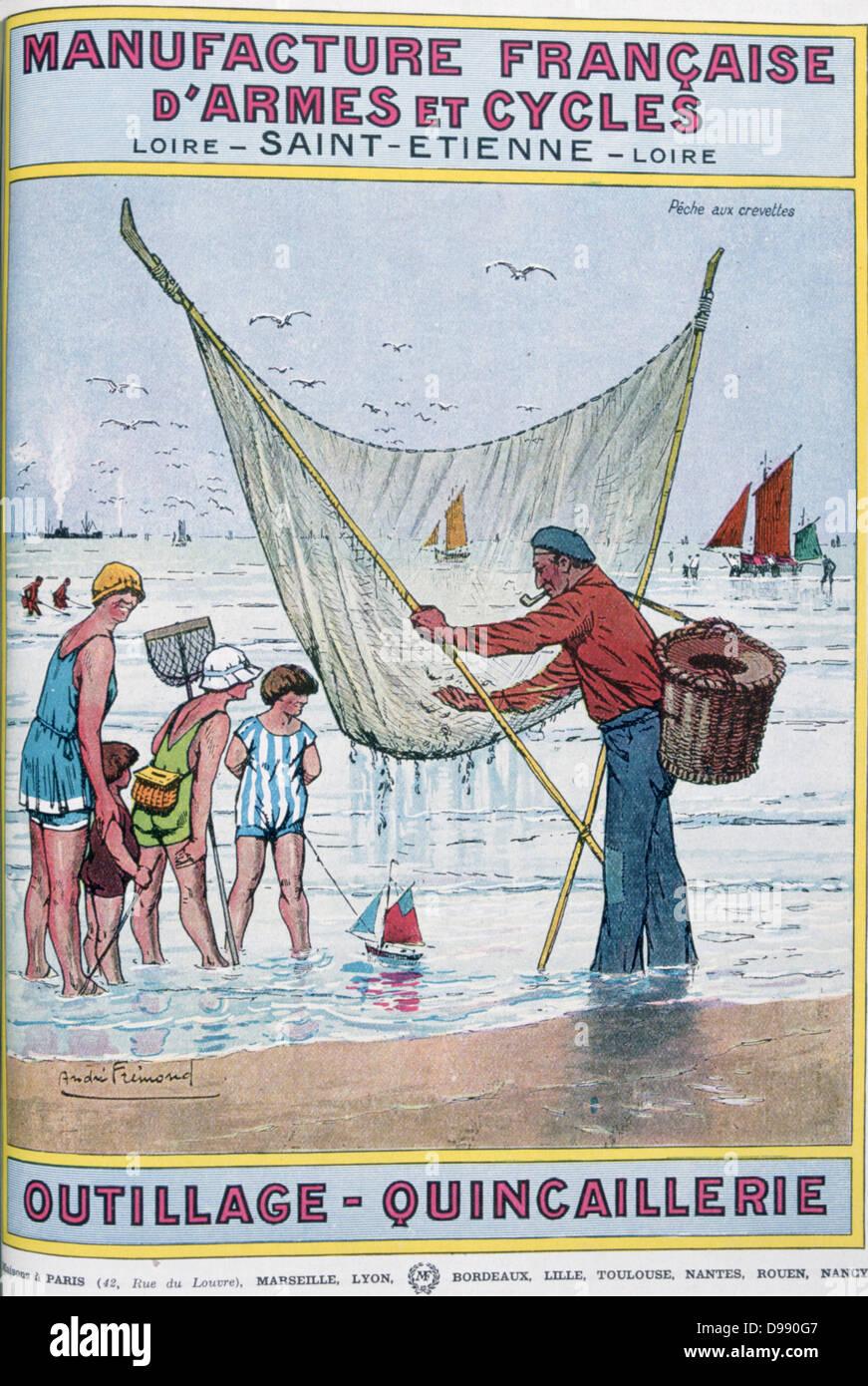 Cover of catalogue of Manufrance (Manufacture Francaise d'Armes et Cycles) Saint Etienne, c1920. Shrimping. - Stock Image
