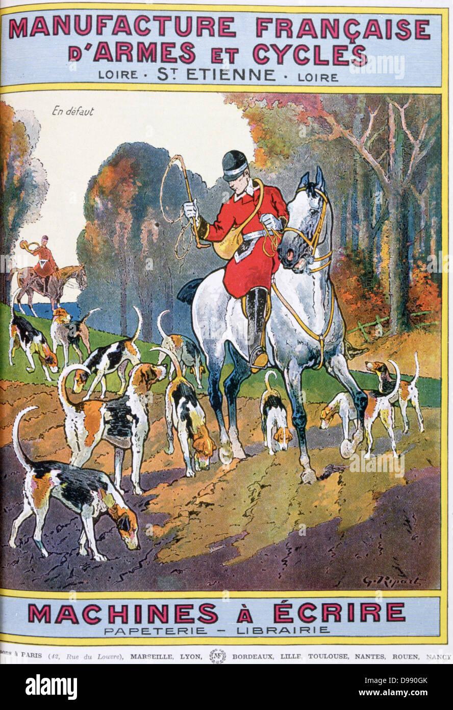 Cover of catalogue of Manufrance (Manufacture Francaise d'Armes et Cycles) Saint Etienne, c1920. French huntsmen. - Stock Image