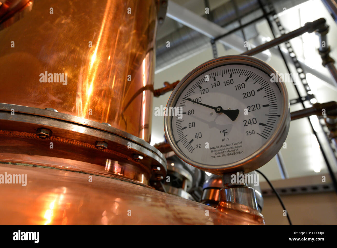Temperature gauge on a an artisan made still at the Stein Distillery in Joseph, Oregon. - Stock Image