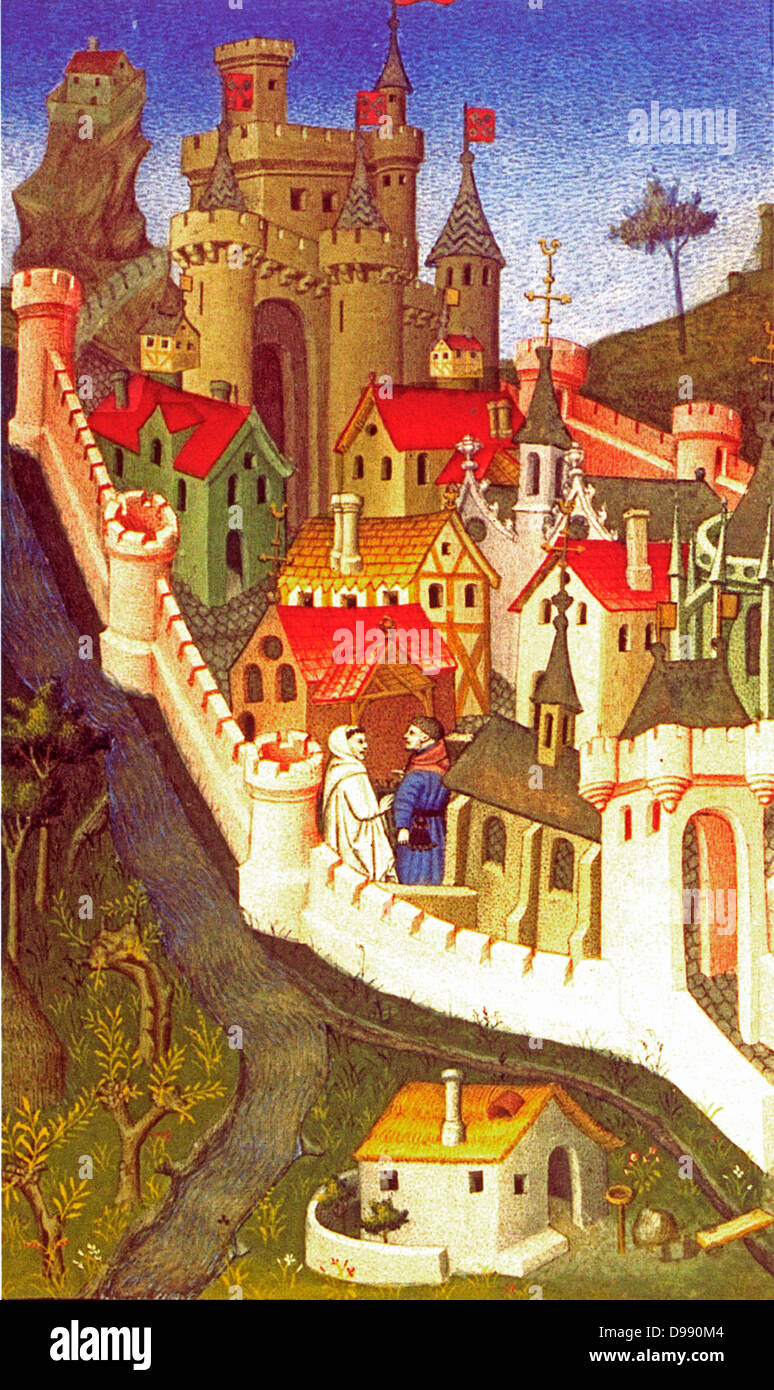 Miniature showing the Palace of the Popes at Avignon. Bibliothèque Nationale. 15th Century  By the master of - Stock Image