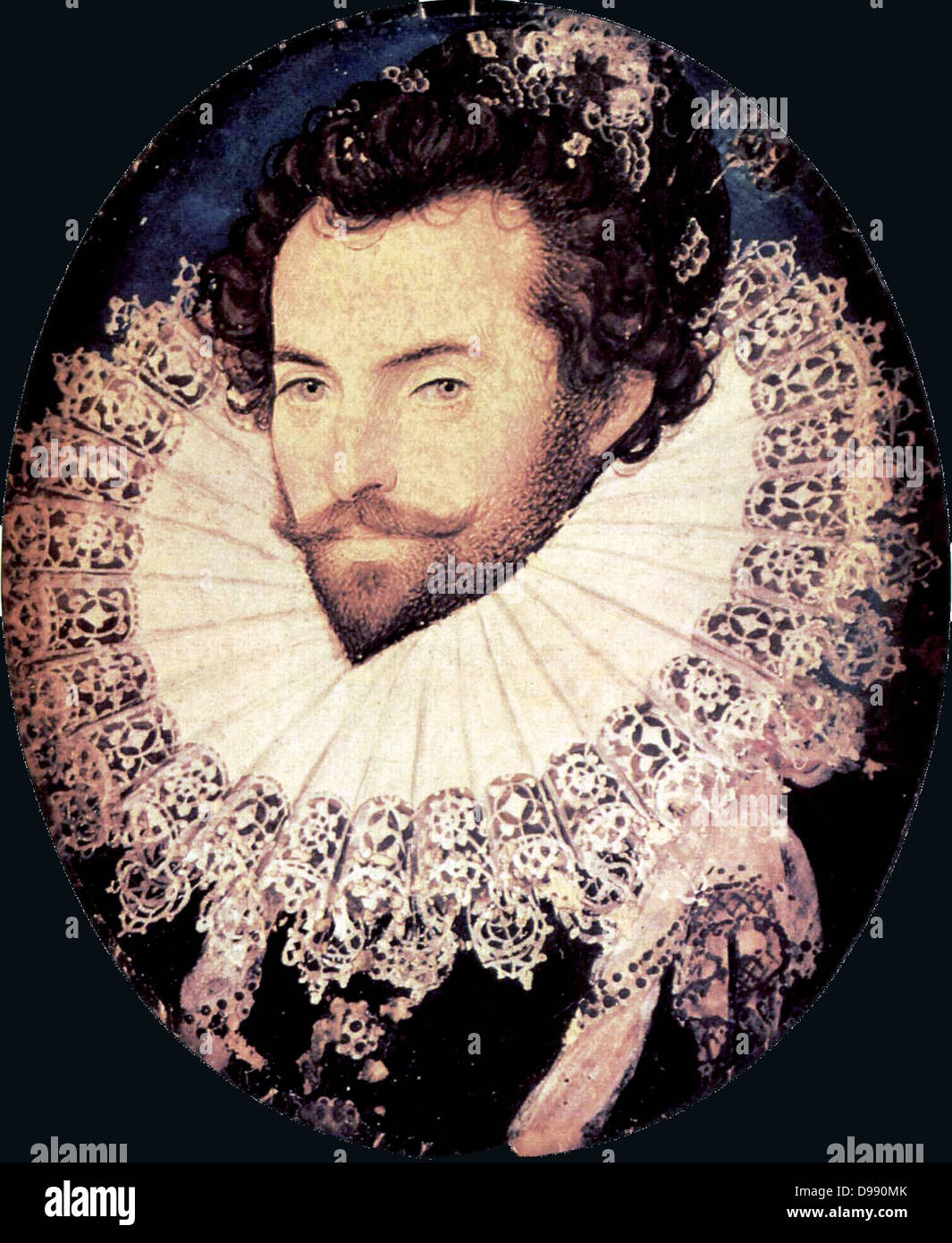 Portrait of Sir Walter Raleigh, 1585. Walter Raleigh or Ralegh[1] (c. 1552 – 29 October 1618), was a famed English - Stock Image