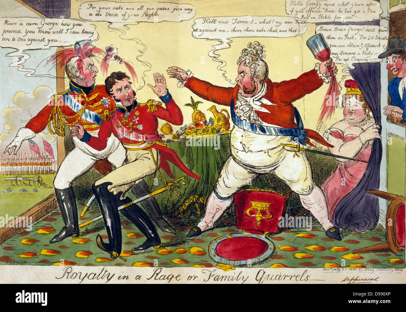 Royalty in a Rage or Family Quarrels' Robert Cruikshank, July 1820. George IV angry with his brothers Frederick - Stock Image