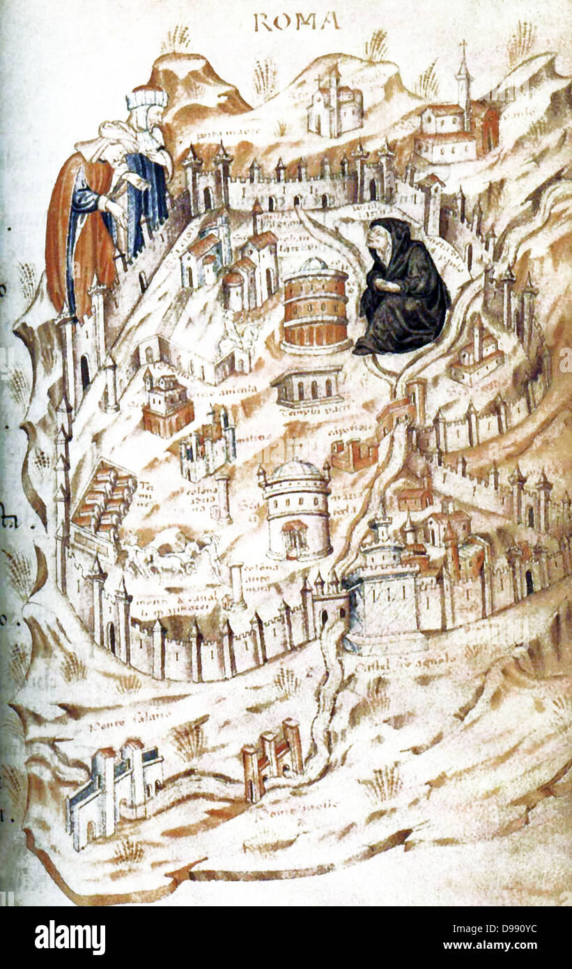Folio 18 from Bibliotheque Nationale, MS It. 81, Allegorical map ofthe City of Rome, showing a personification of - Stock Image