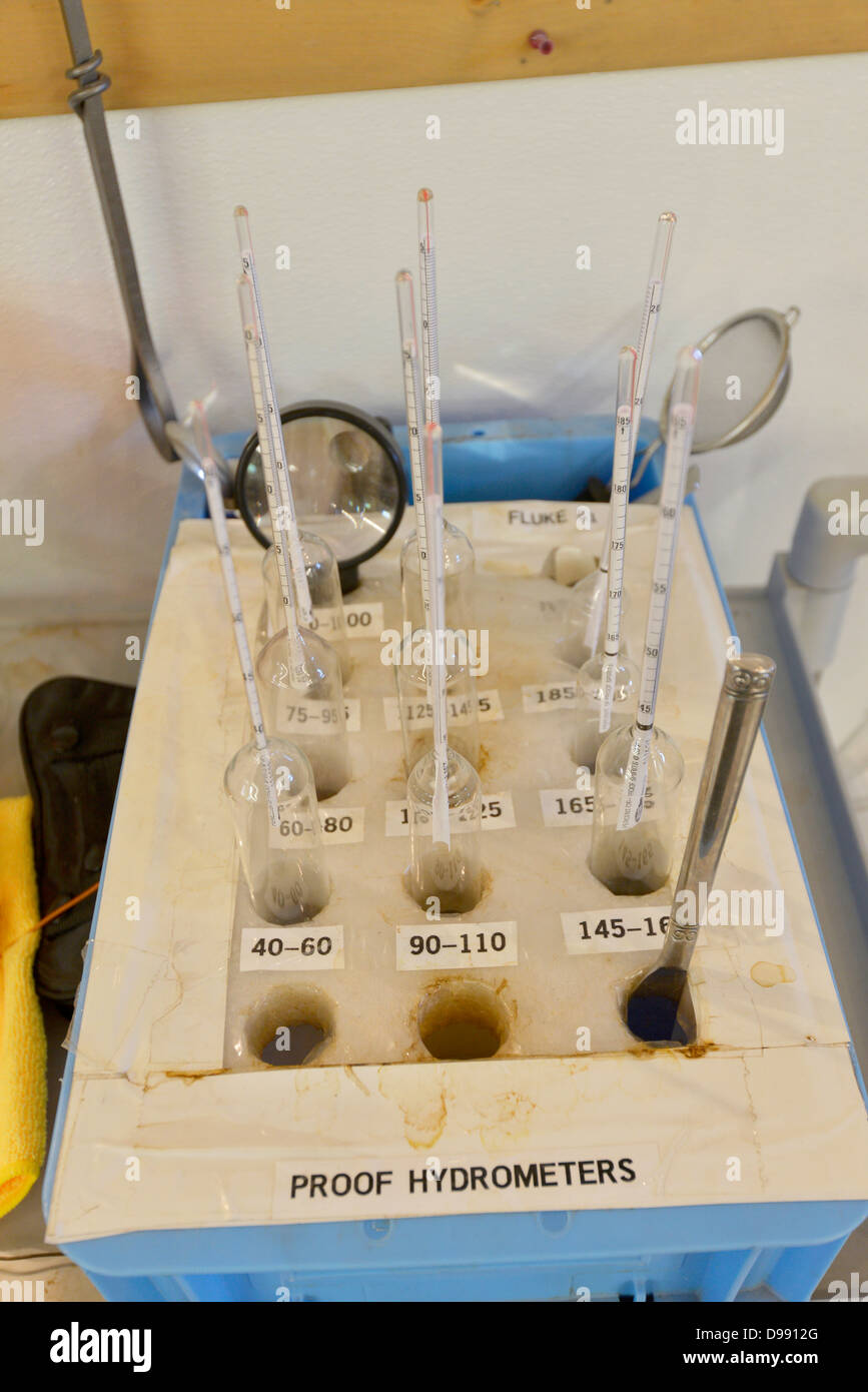 Proof hydrometers at the Stein Distillery in Joseph, Oregon. - Stock Image