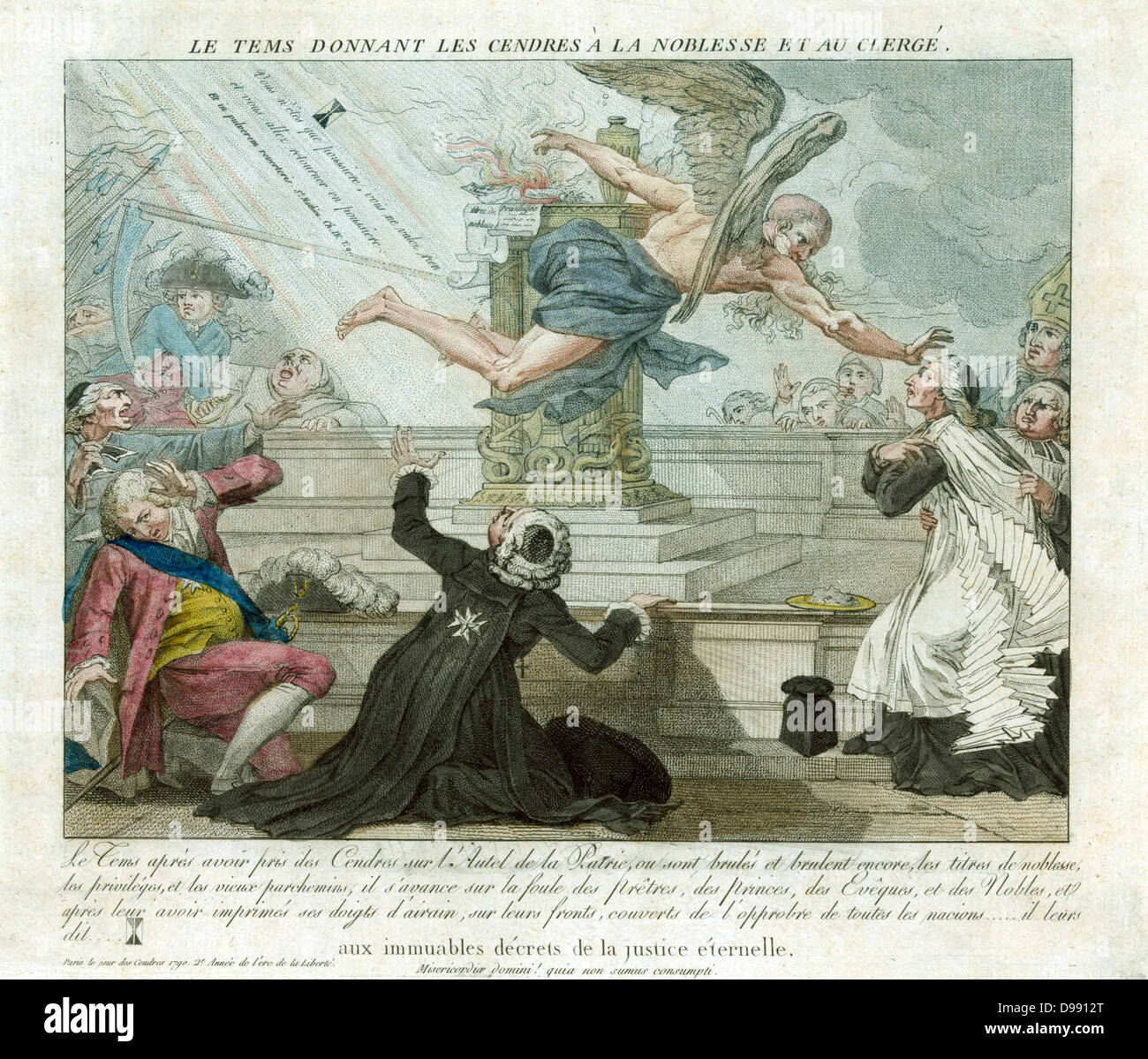 French Revolution: Father Time flying past altar on which the privileges of the nobility and clergy are being burned. - Stock Image