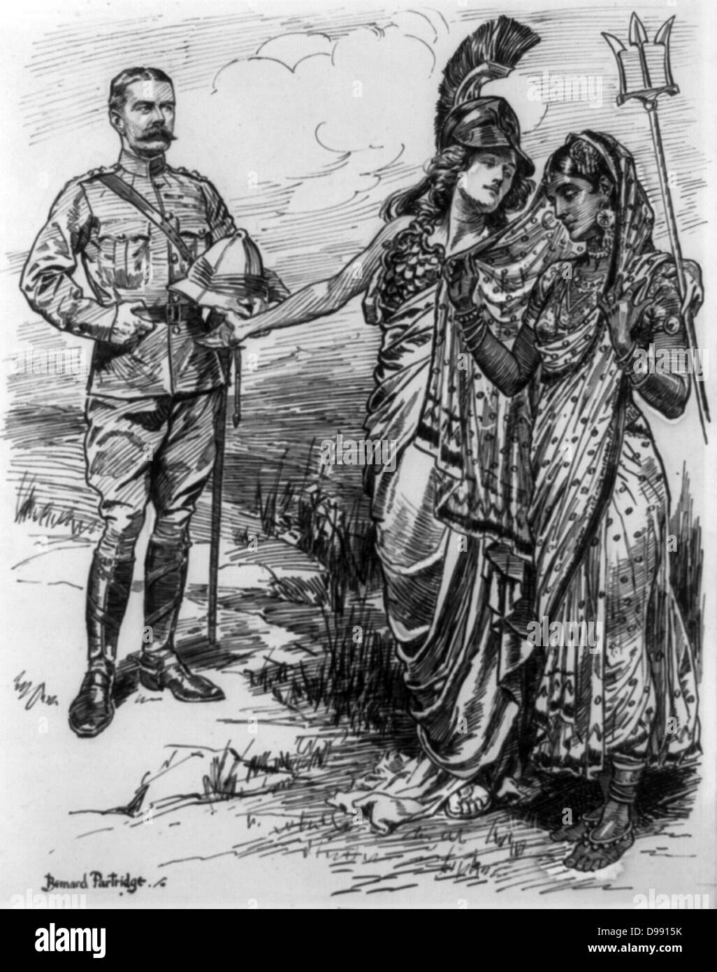 Britannia, holding her trident, introduces Lord Kitchener to a modestly veiled India. Horatio Herbert Kitchener - Stock Image
