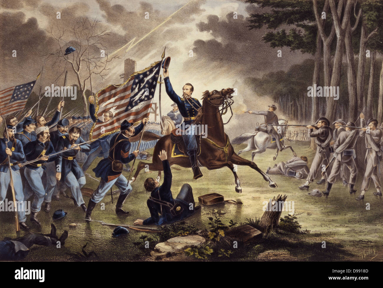 American Civil War 1861-1865: General Kearney's gallant charge, Battle of Chantilly (Ox Hill), Virginia, 1 September - Stock Image