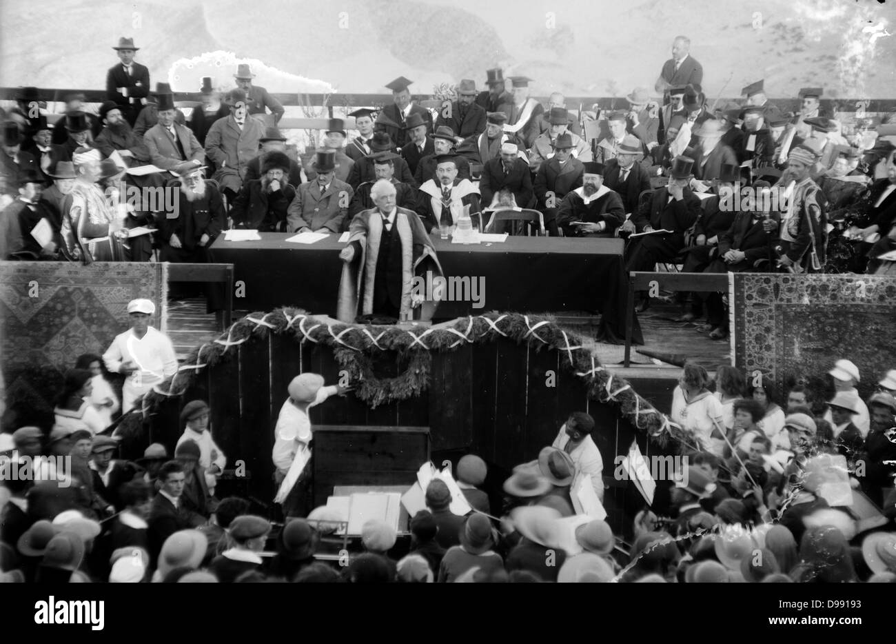Lord Balfour declaring the Hebrew University, Jerusalem, Palestine 1925. Arthur James Balfour (1848–1930) British - Stock Image