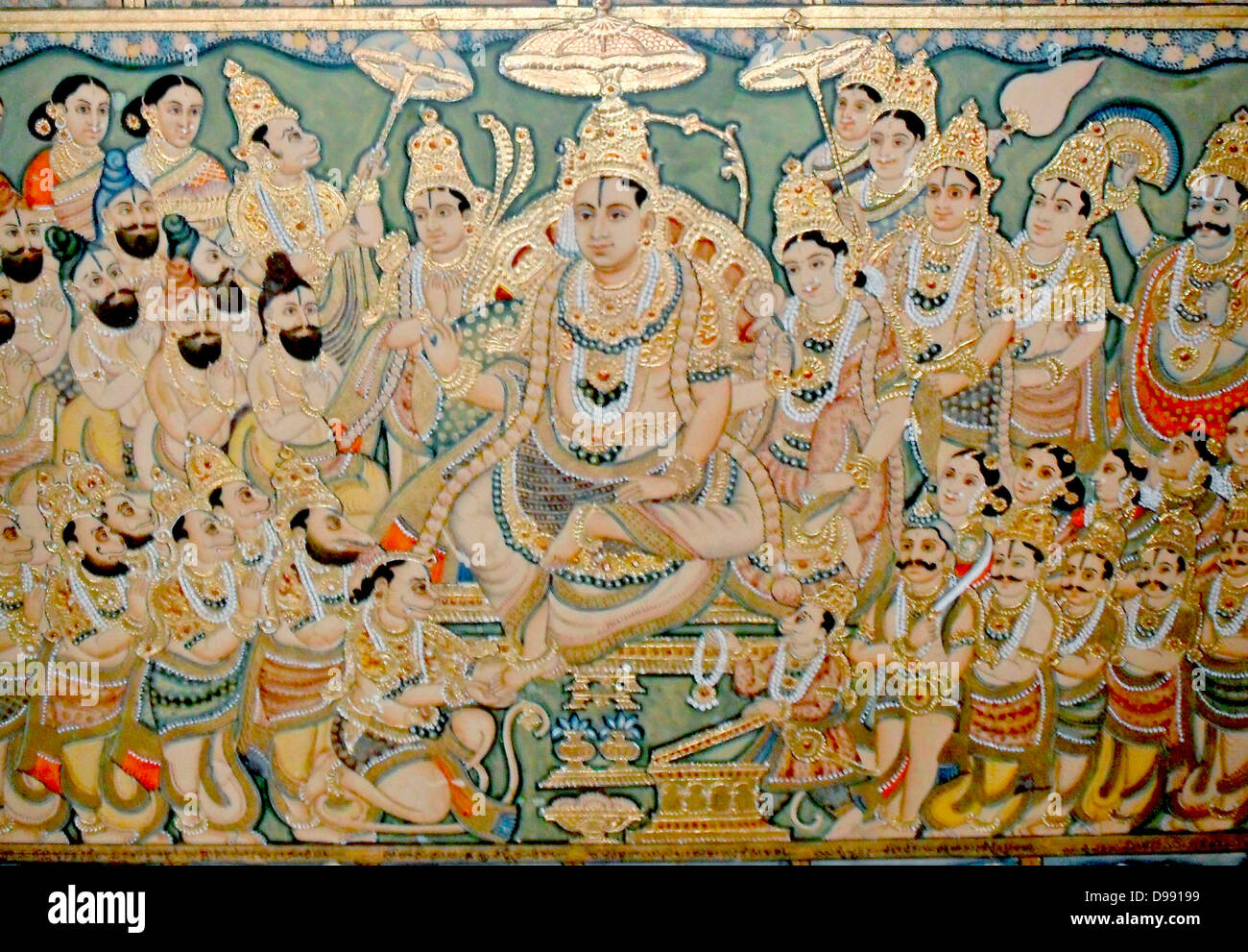 Detail from a 19th century enamel and glazed picture depicting the Hindu legend of the Ramayana. The Ramayana is - Stock Image