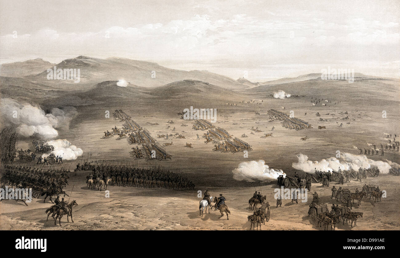 Crimean War 1853-1856: 'Charge of the light cavalry brigade, 25th Oct. 1854, under Major General the Earl of - Stock Image