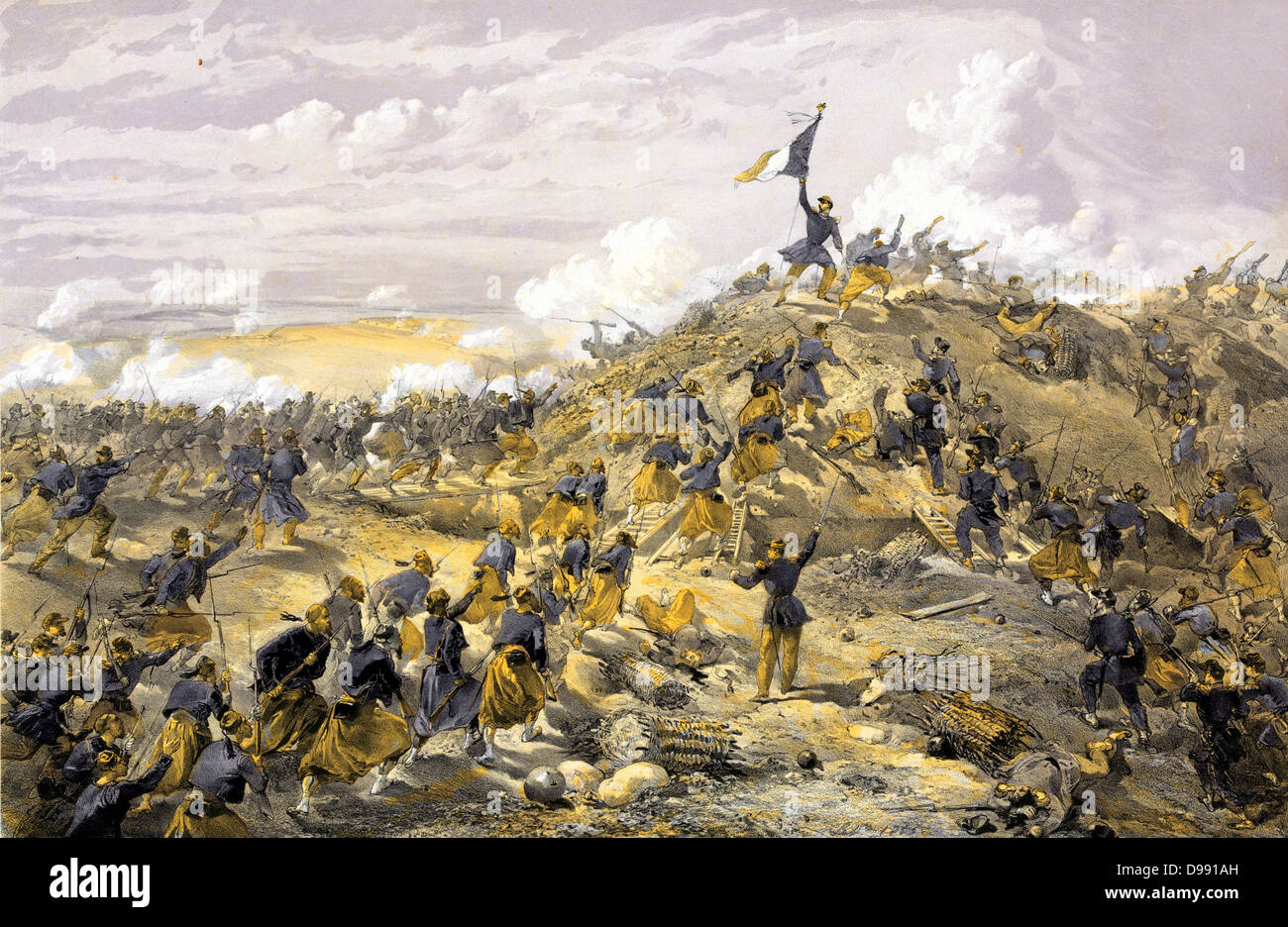 Crimean War 1853-1856: 'French assault on the Malakoff, Russian fortification before Sevastopol', French - Stock Image