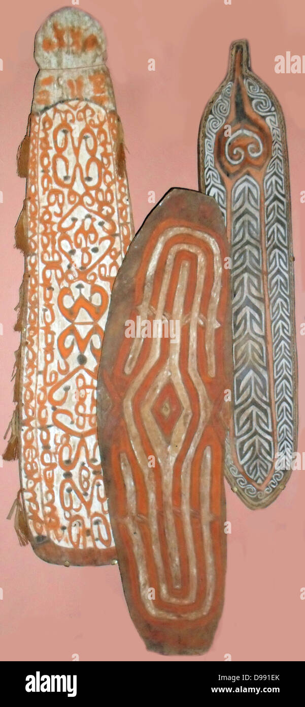 Shields made from wood from various tribal cultures in Merauke, Paua New Guinea. early 20th Century. - Stock Image