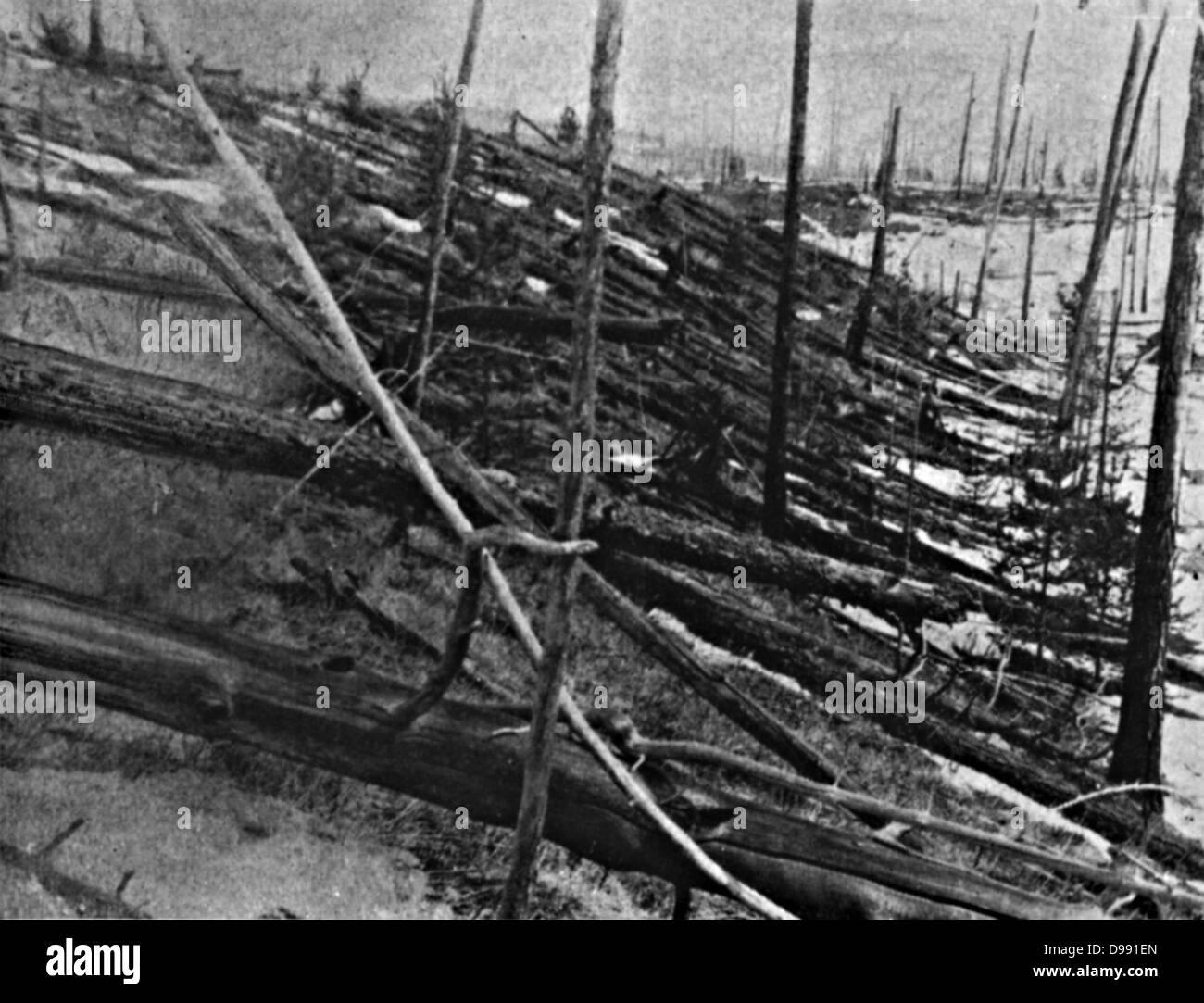 The Tunguska Event, or Tunguska Explosion, 30 June 1908, near the Podkamennaya, Tunguska River, Krasnoyarsk Krai, - Stock Image