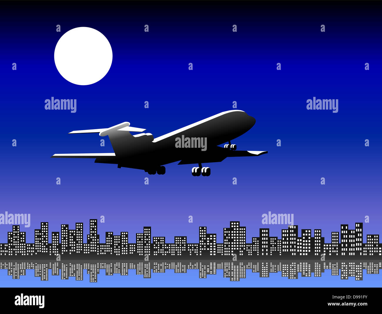 Airplane flying over the city at night, illuminated by the light of the full moon. - Stock Image