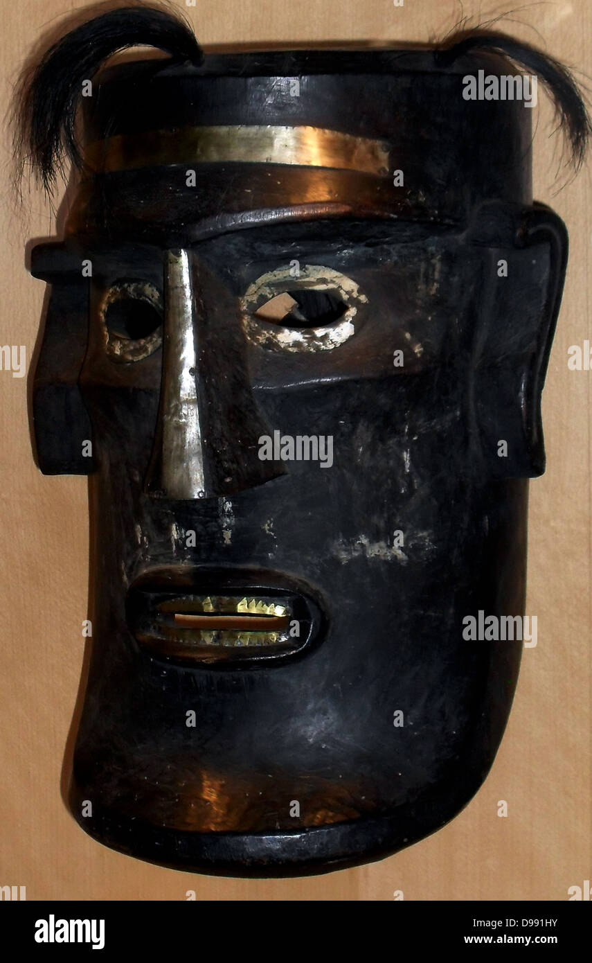Mask used during funeral ceremonies for important people. From Sumatra, Indonesia.19th century - Stock Image
