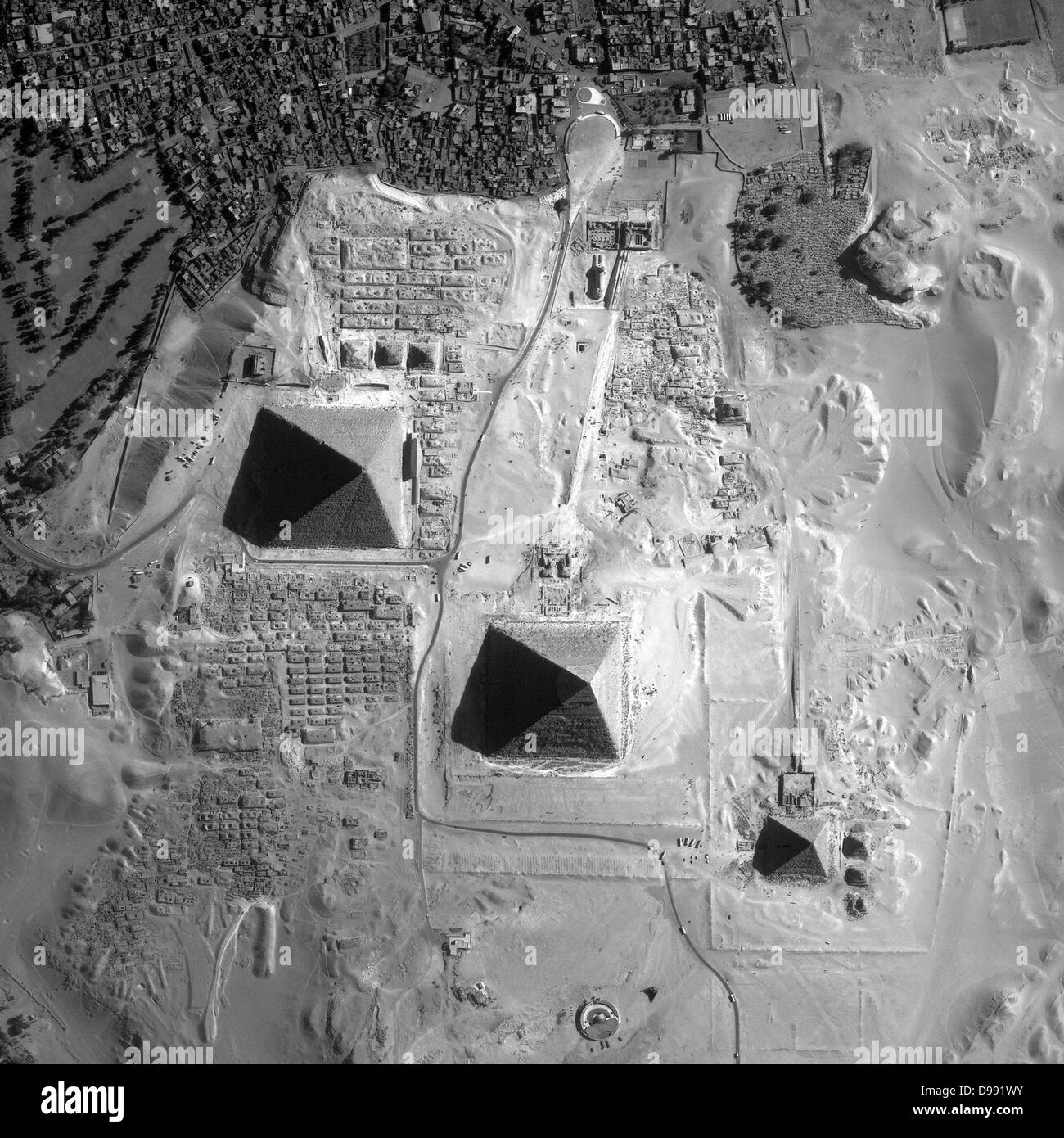 Satellite view of the Pyramids of Giza