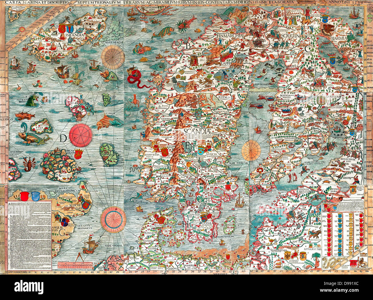 The Carta Marina (Latin 'map of the sea'), created by Olaus Magnus in the 16th century, is the earliest - Stock Image
